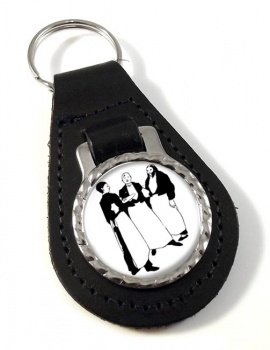In the Cafe by Aubrey Beardsley Leather Keyfob