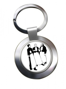 In the Cafe by Aubrey Beardsley Chrome Key Ring