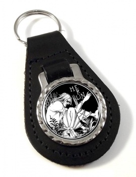 Merlin by Aubrey Beardsley Leather Keyfob