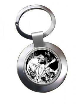 Merlin by Aubrey Beardsley Chrome Key Ring