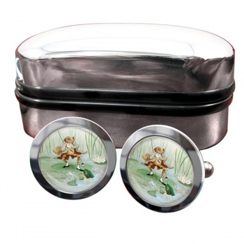 Angling Frog by Beatrix Potter  Round Cufflinks