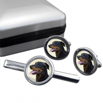 Beauceron  Cufflink and Tie Clip Set