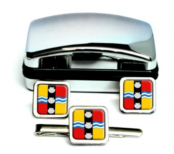Bedfordshire (England) Square Cufflink and Tie Clip Set