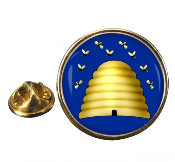 Beehive Masonic Symbol Round Pin Badge