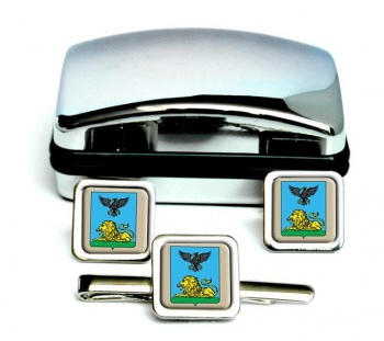 Belgorod Oblast Square Cufflink and Tie Clip Set