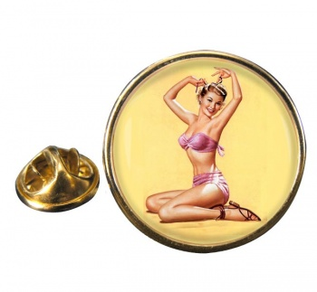 Bella Pin-up Girl Round Pin Badge