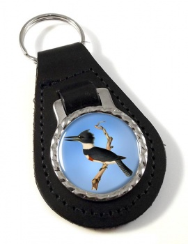 Belted kingfisher Leather Key Fob