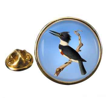 Belted kingfisher Round Pin Badge