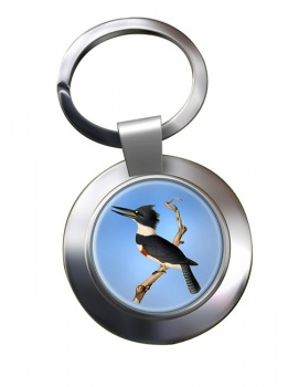 Belted kingfisher Metal Key Ring