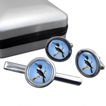 Belted kingfisher  Cufflink and Tie Clip Set