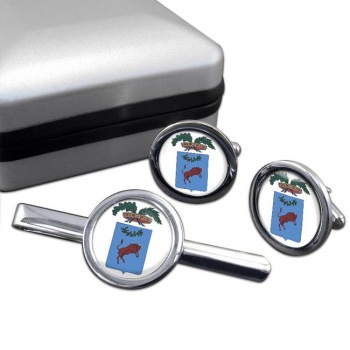 Benevento (Italy) Round Cufflink and Tie Clip Set