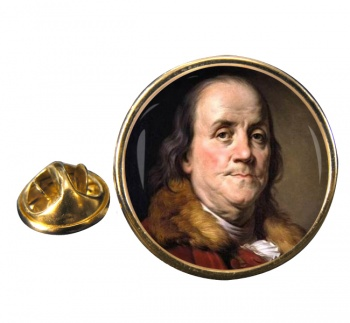 Benjamin Franklin Round Pin Badge