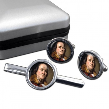 Benjamin Franklin Round Cufflink and Tie Clip Set