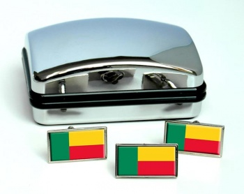 Benin Flag Cufflink and Tie Pin Set