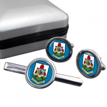 Bermuda Round Cufflink and Tie Clip Set