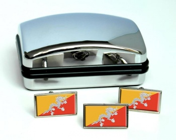 Bhutan Flag Cufflink and Tie Pin Set