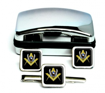 Bikers Masonic Square Cufflink and Tie Clip Set