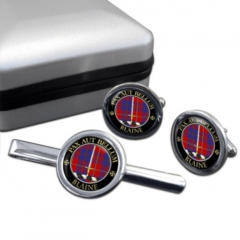 Blaine Scottish Clan Round Cufflink and Tie Clip Set
