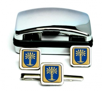 Blekinge (Sweden) Square Cufflink and Tie Clip Set