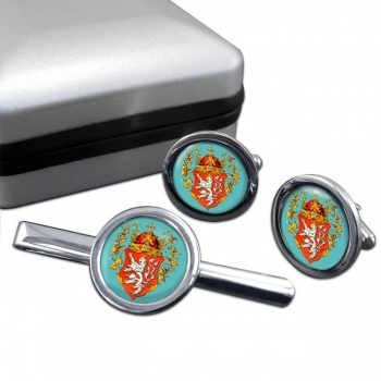 Bohemia  (Czech) Round Cufflink and Tie Clip Set