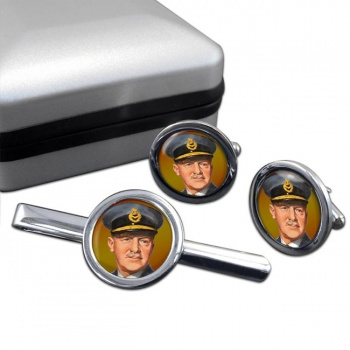 Sir Arthur ''Bomber'' Harris Round Cufflink and Tie Clip Set