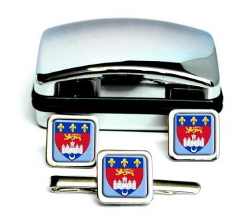 Bordeaux (France) Square Cufflink and Tie Clip Set