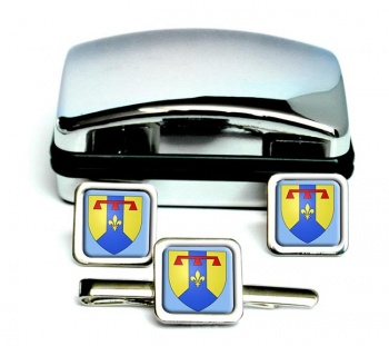 Bouches-du-Rhone (France) Square Cufflink and Tie Clip Set