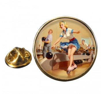 Bowling Accident Pin-up Girl Round Pin Badge