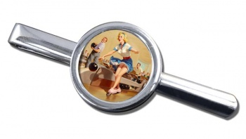 Bowling Accident Pin-up Girl Round Tie Clip