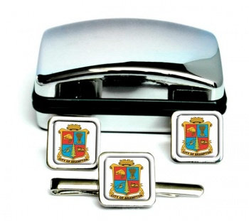 Brampton (Canada) Square Cufflink and Tie Clip Set