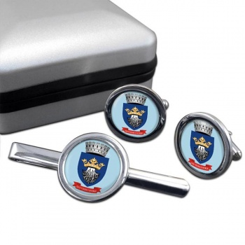 Brasov (Romania) Round Cufflink and Tie Clip Set