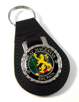 Brown Scottish Clan Leather Key Fob