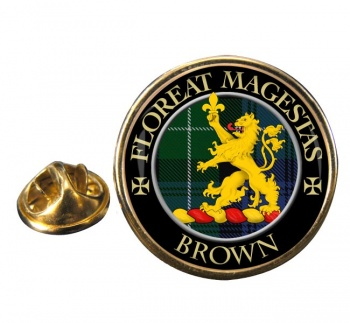 Brown Scottish Clan Round Pin Badge