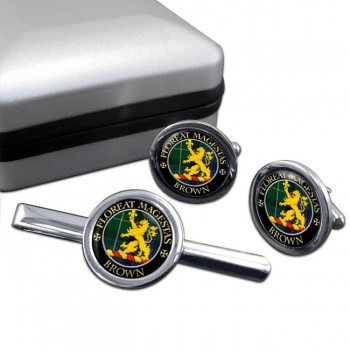 Brown Scottish Clan Round Cufflink and Tie Clip Set