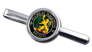 Brown Scottish Clan Round Tie Clip