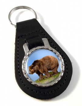 Brown Bear Leather Key Fob