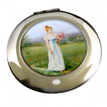 A Leisurely Summer Day by Jennie Augusta Brownscombe Round Mirror