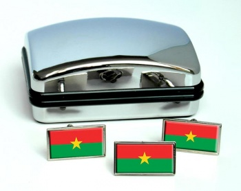 Burkina Faso Flag Cufflink and Tie Pin Set