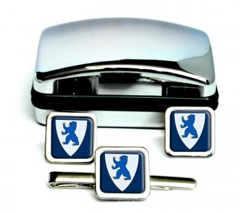 Buskerud (Norway) Square Cufflink and Tie Clip Set