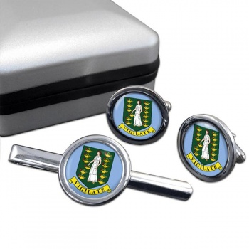 British Virgin Islands Round Cufflink and Tie Clip Set
