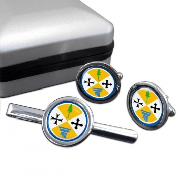 Calabria (Italy) Round Cufflink and Tie Clip Set