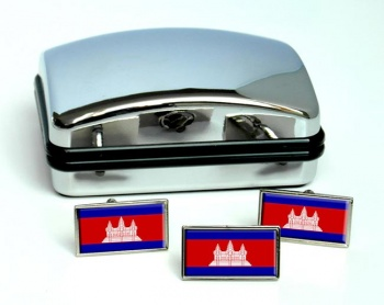 Cambodia  Flag Cufflink and Tie Pin Set
