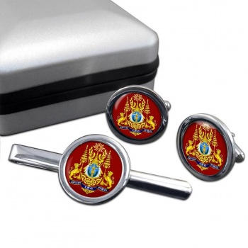 Cambodia  Round Cufflink and Tie Clip Set