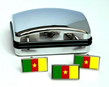 Cameroon Flag Cufflink and Tie Pin Set