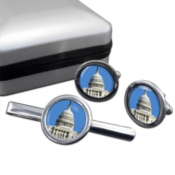 The Capitol Round Cufflink and Tie Clip Set