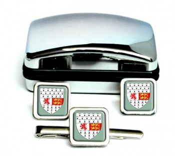 County Carlow (Ireland) Square Cufflink and Tie Clip Set