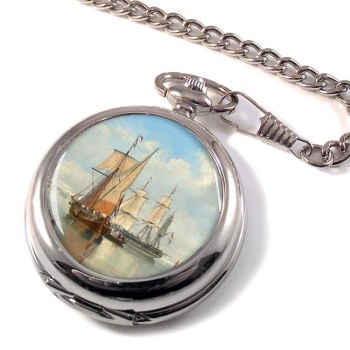 Shipping in a Flat Calm off the Dutch coast by John Wilson Carmichael Pocket Watch