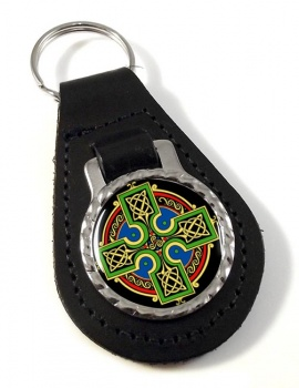 Celtic Cross Leather Keyfob