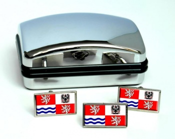 Central Bohemia Flag Cufflink and Tie Pin Set