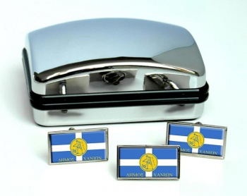 Chania (Greece) Flag Cufflink and Tie Pin Set